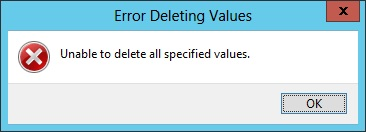 Реестр: Unable to delete all specified values