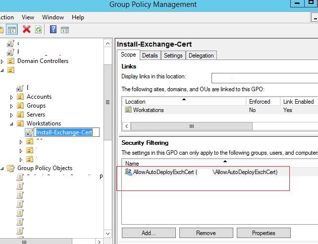 группа, на которую автоматически через gpo добавляется в довененные ssl сертификат