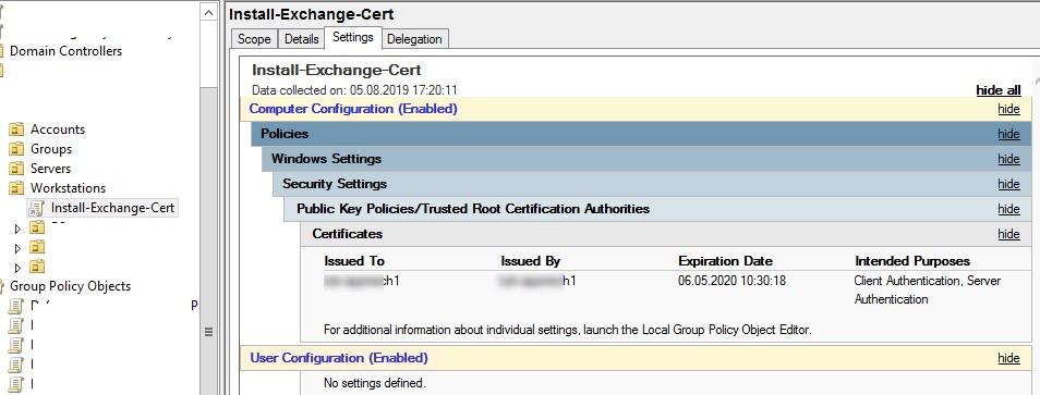 gpo информация об устанавливаемых сертификатах