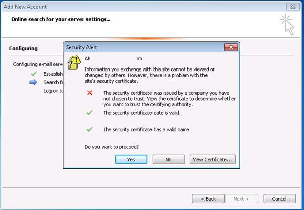 Outlook: ошибка использования недоверенного сертифката при использвании самоподписанного сертифката Exchange