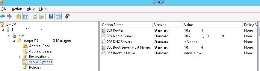 Опции DHCP зоны для загрузки бездисковых терминалов