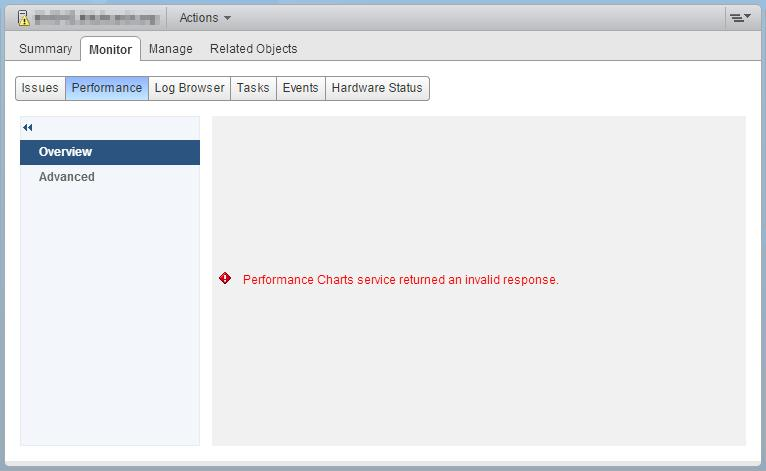 VMWare vSphere: Performance Charts service returned an invalid response