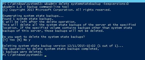 wbadmin delete systemstatebackup - удаление старых версий резевных копий системы