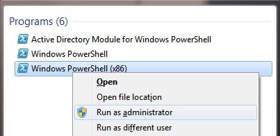 Запуск PowerShell x86 с правами администратора