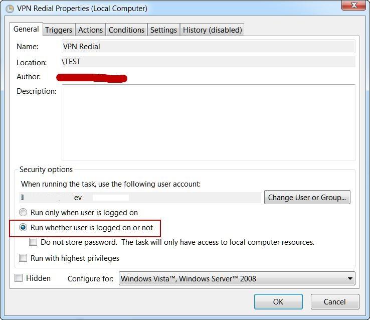 Задаие планировщика для перезапуска VPN соединения