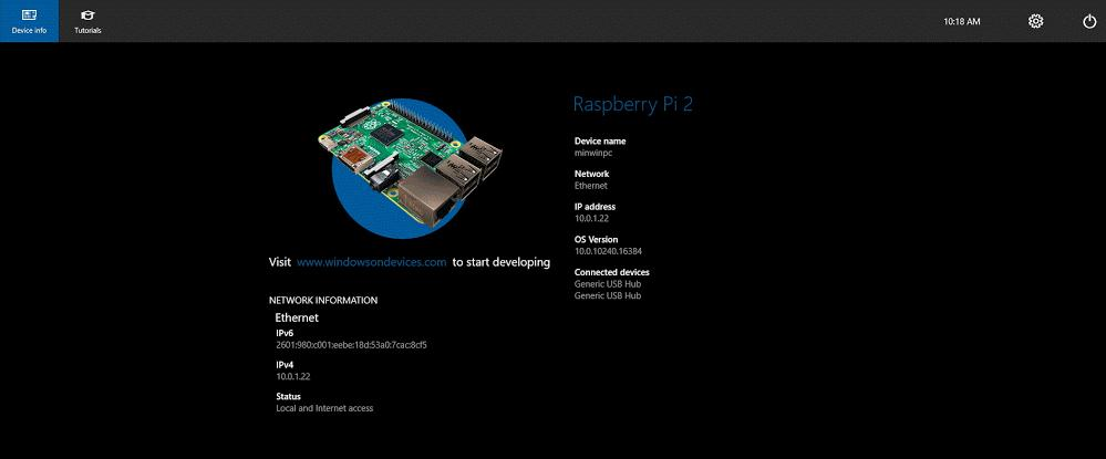 Стартовое окно Windows 10 IoT Core на Raspberry Pi 2
