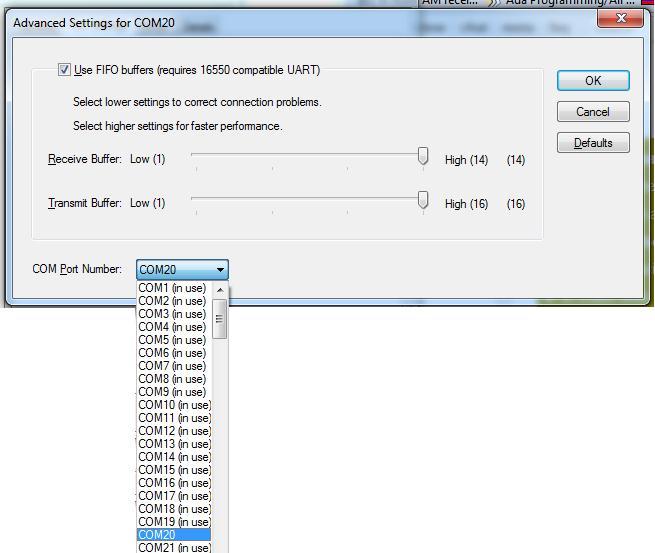 Изменить номер назначенного COM порта