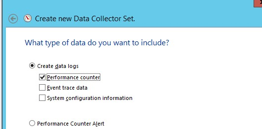 Create data logs -> Performance counter;
