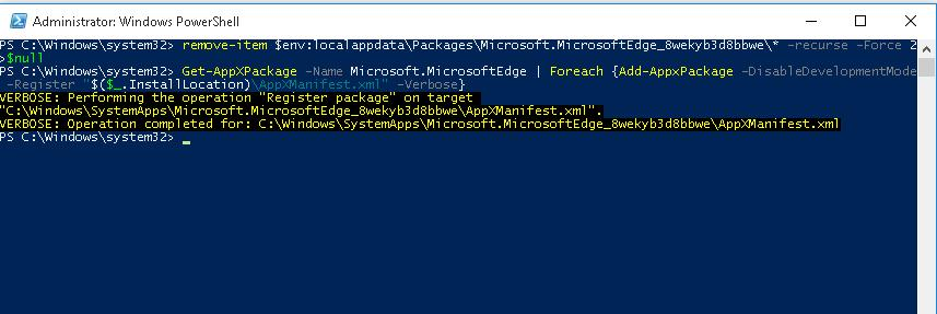 Get-AppXPackage Microsoft.MicrosoftEdge