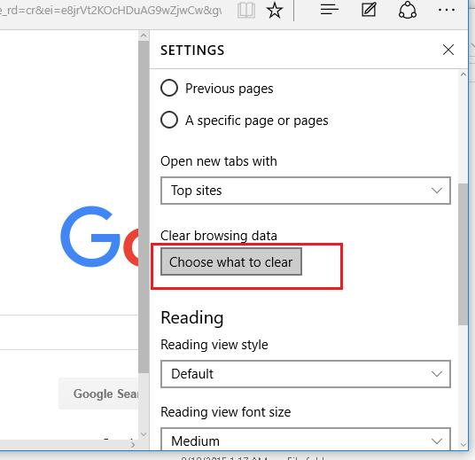 Очистить Edge в Windows 10