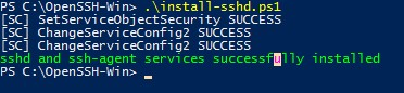 powershell скрипт установки openssh install-sshd.ps1