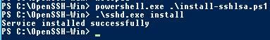 Установка службы sshd.exe