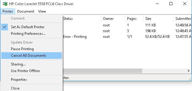 Удалить документы из очереди печати Windows