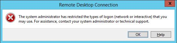 The system administrator has restricted the types of logon (network or interactive) that you may use.