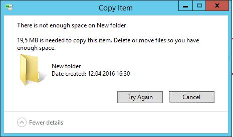 There is not enough space on ….