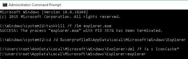 скрипт очистки поврежденнного кэша иконок в Windows