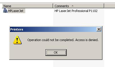 Operation could not be completed. Access is denied.
