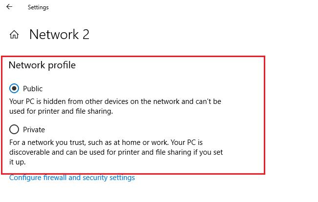 изменить общедоступную сеть на частную в Windows 10