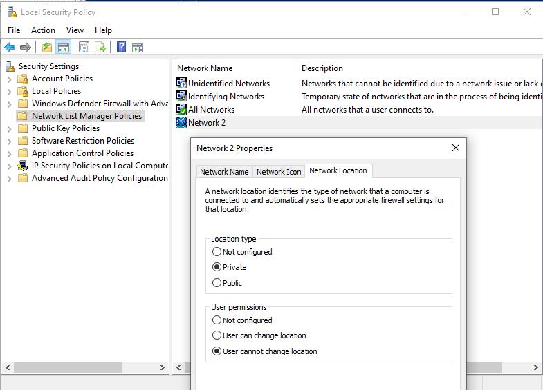 Network List Manager Policies задать тип сети в windows 10 через политику безопасности
