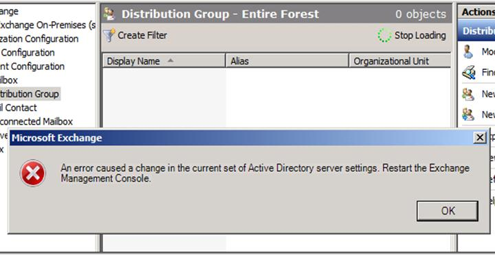 An error caused a change in the current set of Active Directory settings. Restart The Exchange Management Console