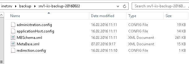 Каталог с копией конфигурации Internet Information Service