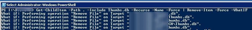 powershell рекурсивно удалить файл Thumbs.db