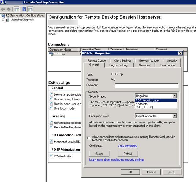 Настройки хоста Remote Desktop