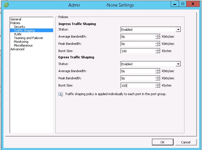 vmware traffic shaping