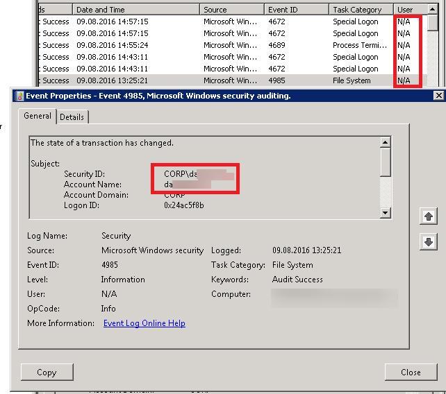 Windows информация о пользователе в событии