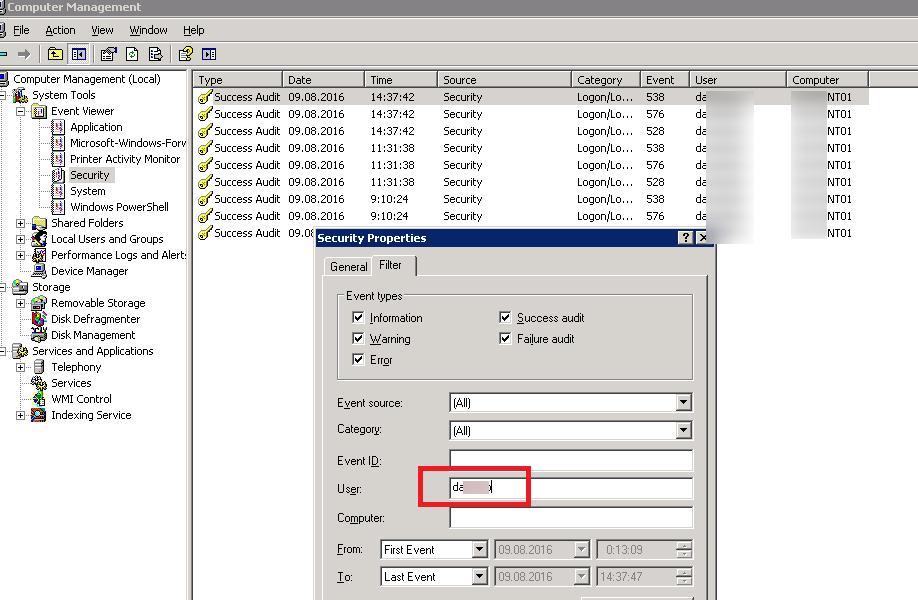 Windows 2003 фильтрация в журналах событий