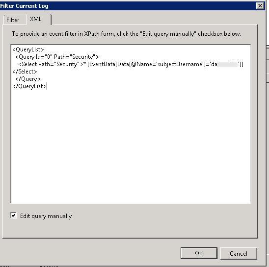 xpath фильтр для выбора событий по subjectUsername