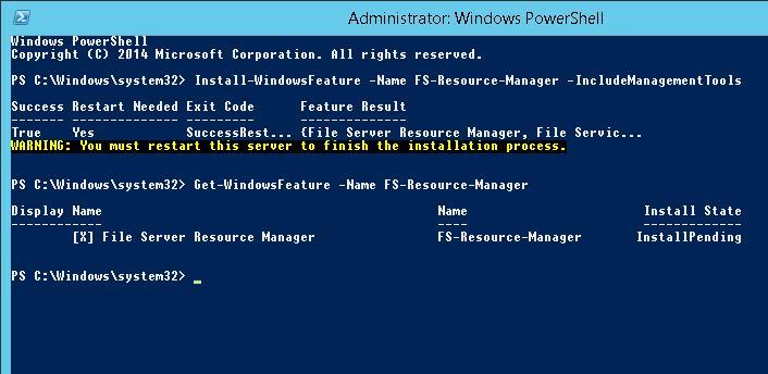 Установка FSRM в Windows 2012 R2