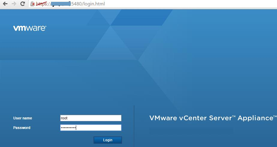 интерфейса VMware Appliance Management Interface (VAMI)