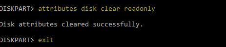 attributes disk clear readonly