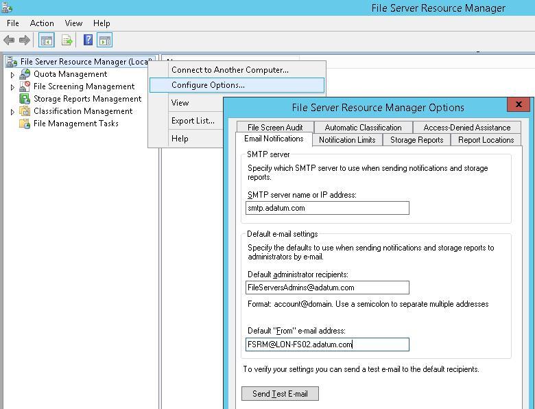 FSRM настройки SMTP уведомлений