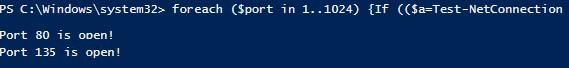 powershell сканирование открытых сетевых портов
