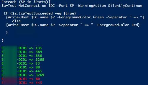 powershell: test-netconnection проверить порты на конроллерах домена