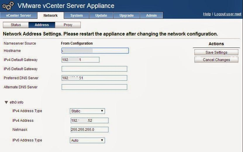 vcsa network address settings