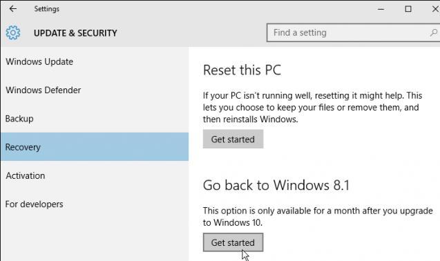 Откатить Windows 10 и вернуть Windows 8.1