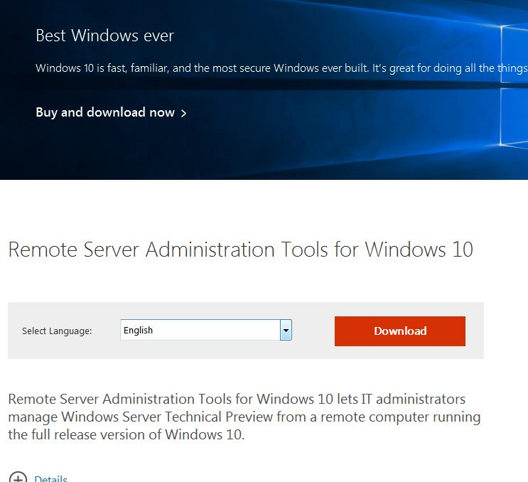 RSAT для Windows 10