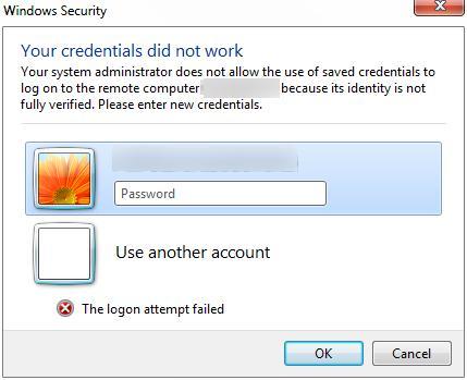 Системный администратор запретил использовать сохраненные учетные данные для входа в систему удаленного компьютера CompName, так как его подлинность проверена не полностью