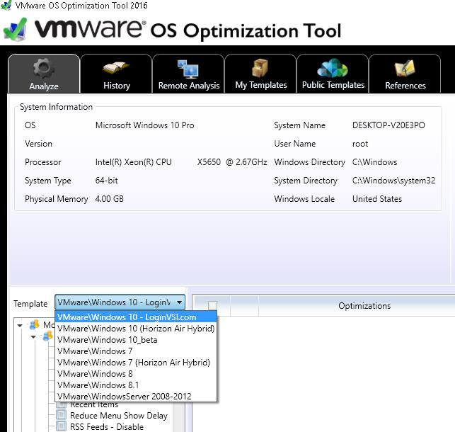 VMware OS Optimization Tool