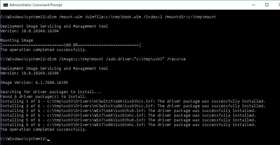 dism - интеграция драйвера в wim файл образа Windows