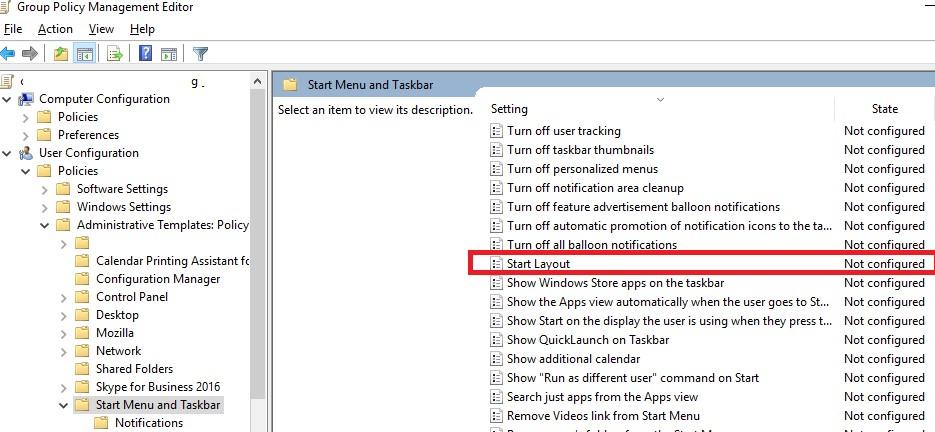 Политика XML макет начального экрана в windows 10