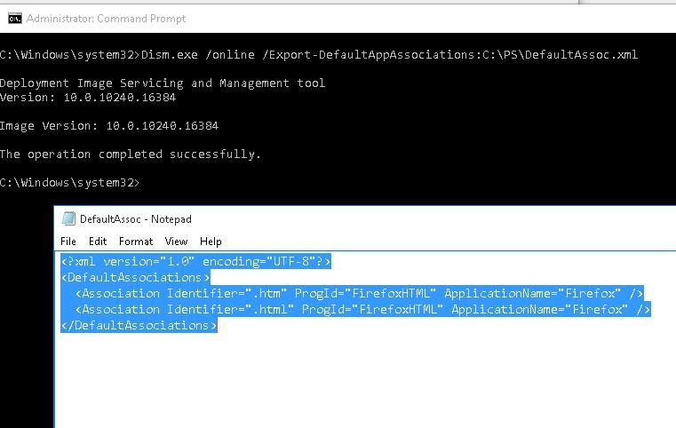 Dism.exe /online /Export-DefaultAppAssociations