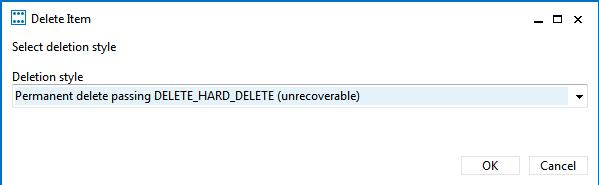 Permanent delete passing DELETE_HARD_DELETE (unrecoverable)