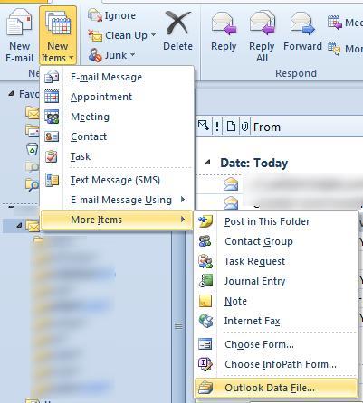 Outlook создать новый PST файл