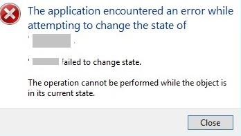 The operation cannot be performed while the object is in its current state