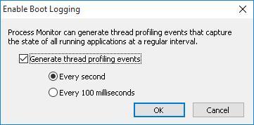 enerate thread profiling events -/> Every second&#187; width=&#187;361&#8243; height=&#187;178&#8243;></strong></li> <li>Перезагрузите компьютер и дождитесь появления рабочего стола</li> <li>Драйвер&nbsp;procmon23.sys&nbsp; будет записывать все события до тех пор, пока пользователь не запустит утилиту&nbsp; Process Monitor . После этого режим протоколирования загрузки отключается.</li> <li>В окне Process Monitor соглашаемся с предложение сохранить собранные данные в файл.<strong><img class=
