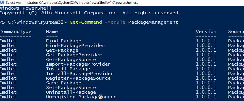 Командлеты модуля Powershell PackageManagement